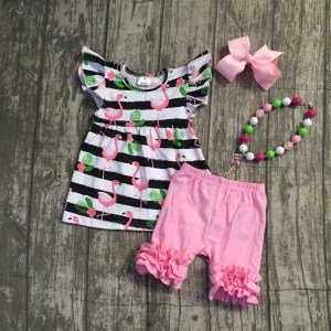 Little Girls Flamingo Theme 4-Piece Outfit