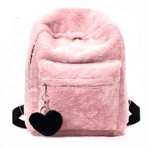 Women's Pink Solid Faux Fur Backpack