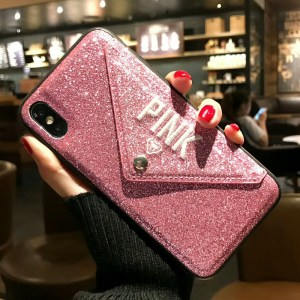 Luxury PINK Embroidered Glitter Leather iPhone Case
