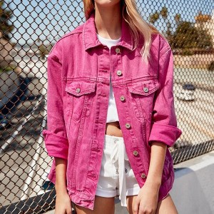 Women's Hot Pink Boyfriend Style Denim Jacket