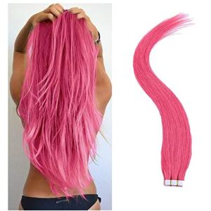 Tape-In Pink Remy Human Hair Extensions-20 Piece