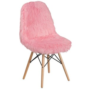 Pink Accent Shaggy Faux Fur Chair