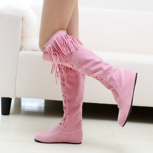 Women's Pink Knee High Moccasin Boots