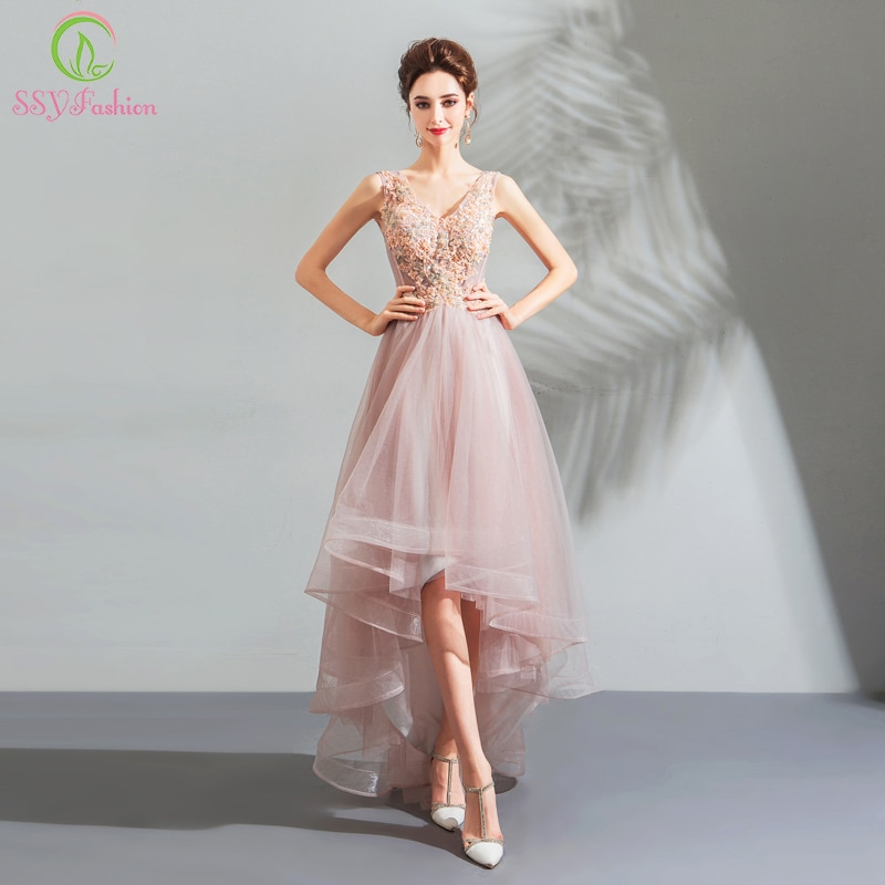 287f5b8a1086 SSYFashion-New-Sweet-Lace-Evening-Dress-V-neck-Sleeveless-Pink-Appliques- Short-Front-Long-Back-Party.jpg