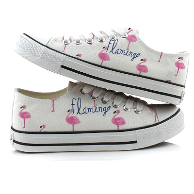 Women's Pink Flamingo Design Canvas Sneakers