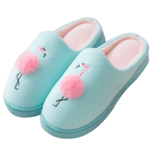 Women's Pink Flamingo Decorated Slippers