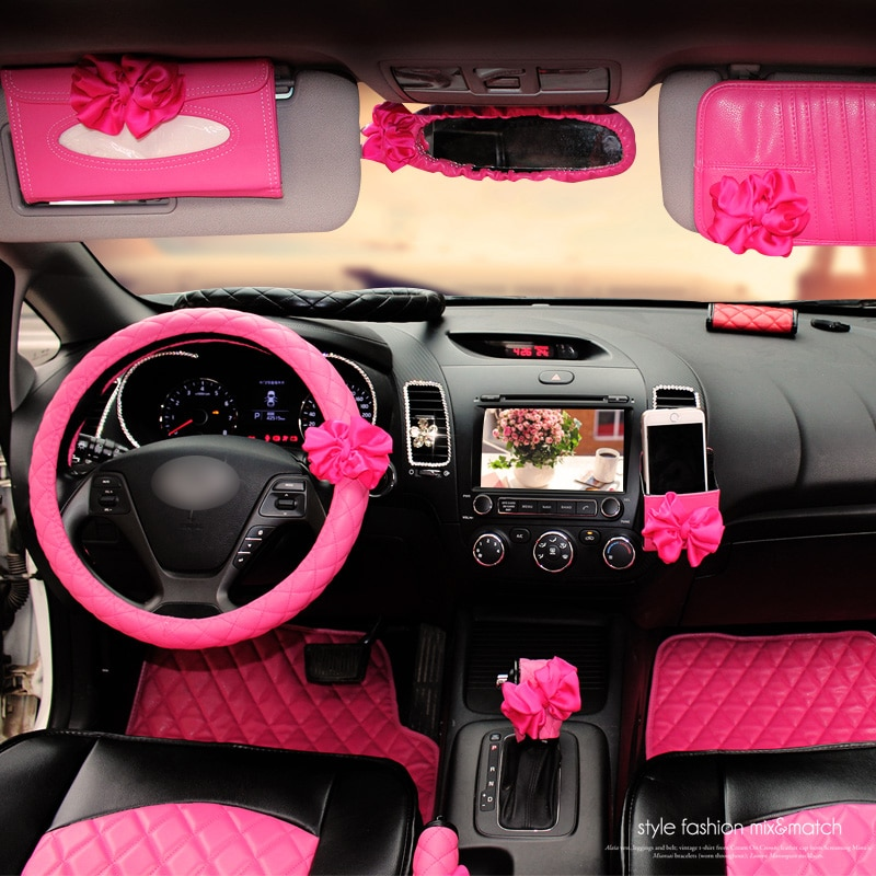 . Car Interior Accessories Pink Roseo Red Flower Steering Wheel Cover