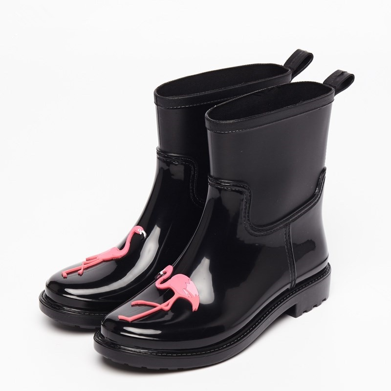 Women S Pink Flamingo Design Rain Boots Just Pink About It