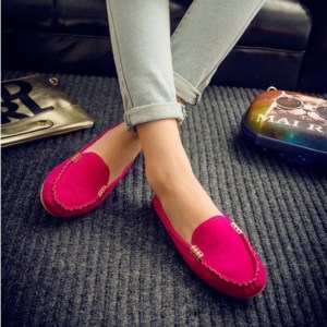 Women's Hot Pink Casual Flat Loafers