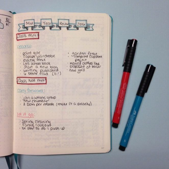 Mid-Year Review Layout in a Bullet Journal