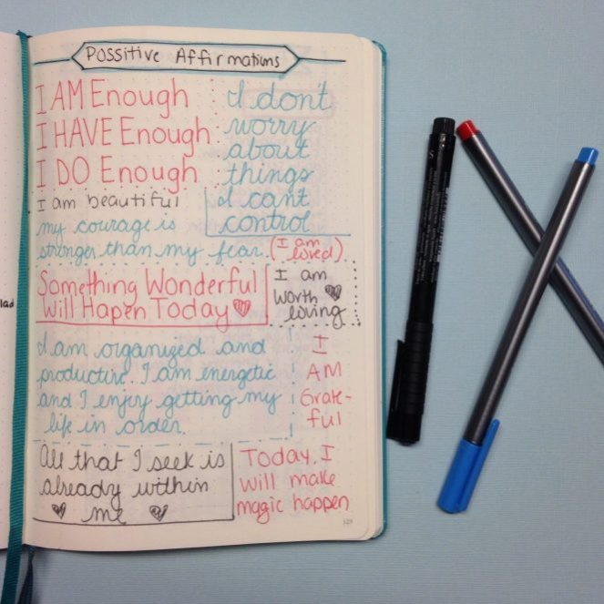 August Affirmations in a Bullet Journal