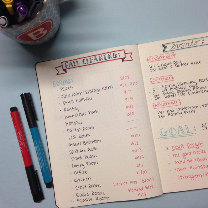 Organizing Fall Cleaning in Your Bullet Journal