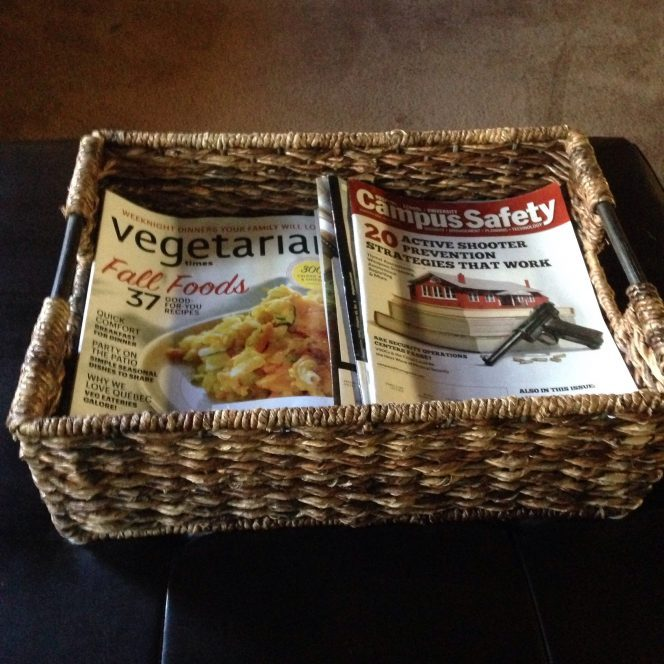 Organizing Magazines in a Basket