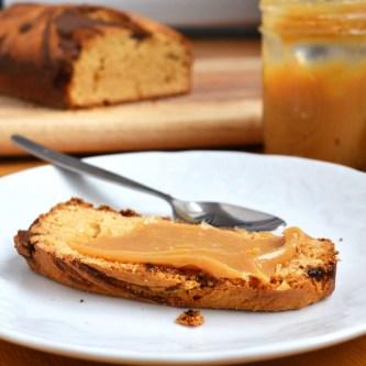 Dulce de Leche-Nutella Swirl Loaf Cake