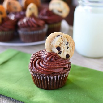 Double Chocolate Chip Cookie Dough Cupcakes