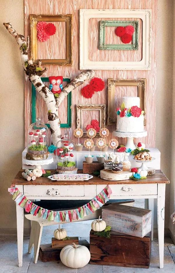 Ideias criativas para painel de festa de aniversário - Painel com molduras