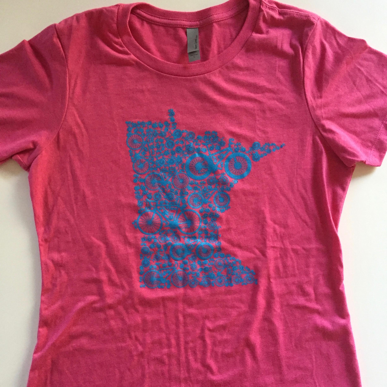 e639261ab Ladies Minnesota Shaped of Bikes t-shirt Blue on Pink – Just Ride MN
