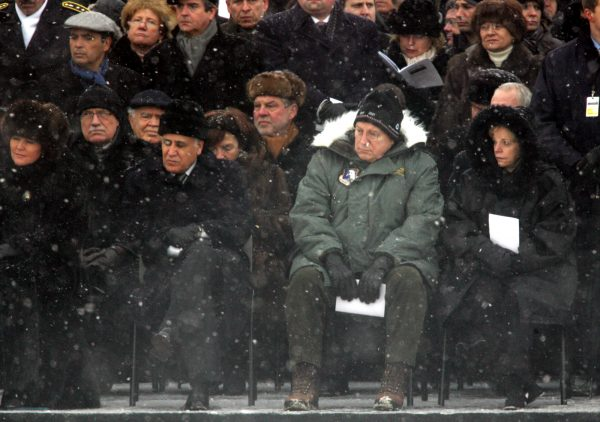 U.S. Vice President Dick Cheney, center right, is flanked by his wife Lynne, right, and Israel's President Moshe Katsav, center left, when leaders from 30 countries gather to remember the victims of the Holocaust on the 60th anniversary of the liberation of the Nazis' Auschwitz death camp by Soviet troops in Oswiecim, southern Poland on Thursday, Jan. 27, 2005. At left is Jolana Kwasniewski, the wife of Poland's President. (AP Photo/Herbert Knosowski)