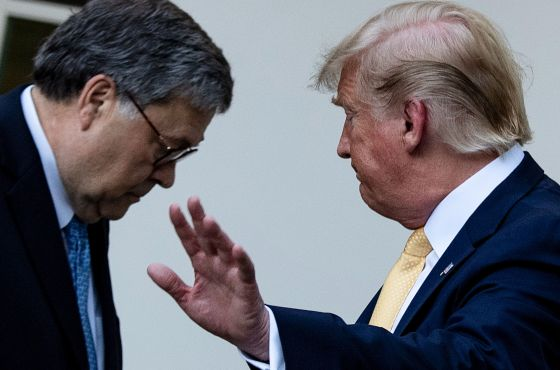 US Attorney General William Barr (L) and US President Donald Trump leave after delivering remarks on citizenship and the census in the Rose Garden at the White House in Washington, DC, on July 11, 2019. (Photo by Brendan Smialowski / AFP)