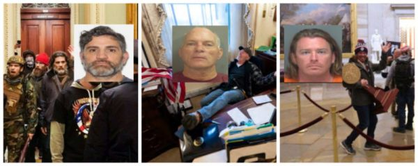 Three photos of known white supremacist leaders at the January 6 Attack on the Capitol. Their mug shots are overlaid the three photos next each person.