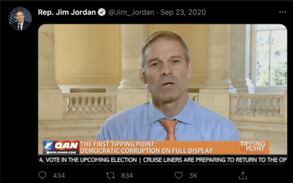 """A social media post from Rep. Jim Jordan (@Jim_Jordan) on September 23, 2020. It shows him speaking on OAN. A caption from OAN reads, """"The first tipping point: Democratic Corruption on Full Display"""""""