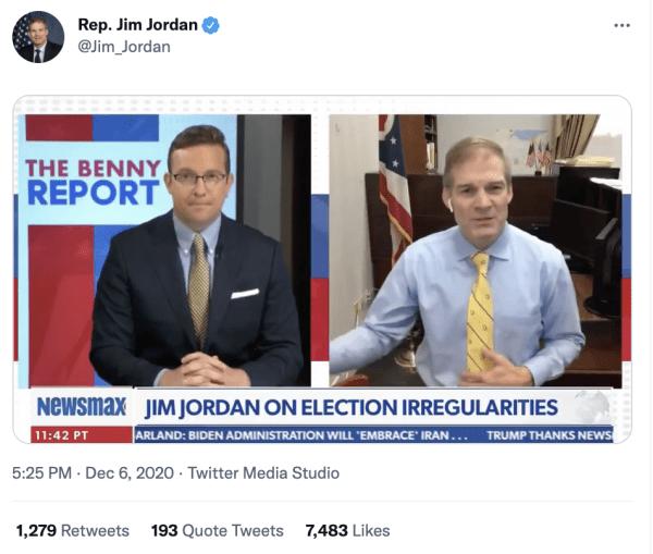 "A tweet by Rep. Jim Jordan (@Jim_Jordan) on December 6, 2020 at 5:25pm with a video of him speaking on Newsmax. The caption on Newsmax reads, ""Jim Jordan on election irregularities"""