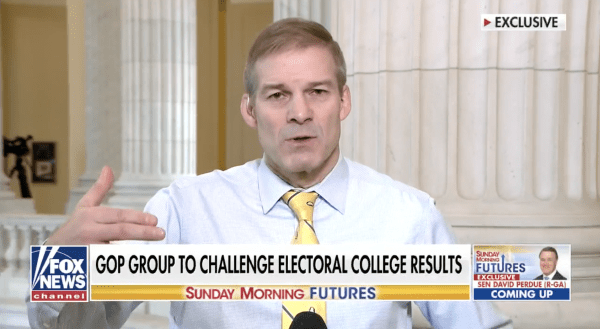 """Jim Jordan speaks on Fox News. The caption on the screenshot reads, """"GOP group to challenge electoral college results."""""""