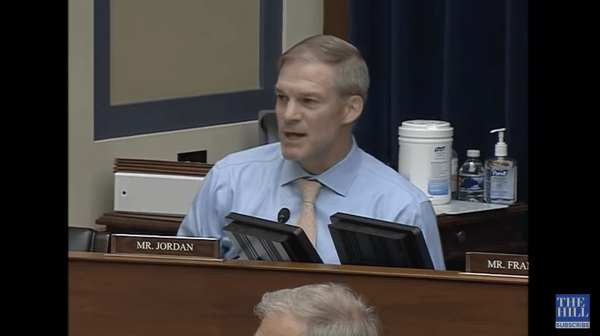 A screenshot from The Hill of Jim Jordan speaking at a committee meeting.