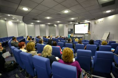 Image of the main lecture hall at the IET in Glasgow.