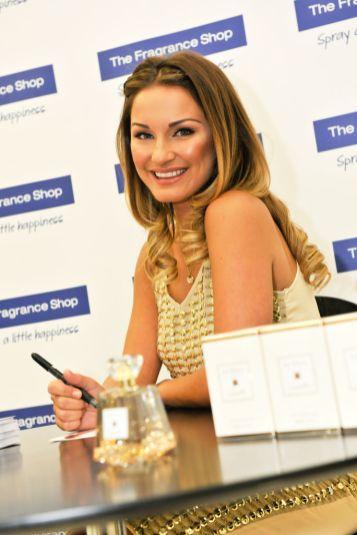 Sam Faiers signing bottles of her debut fragrance La Bella