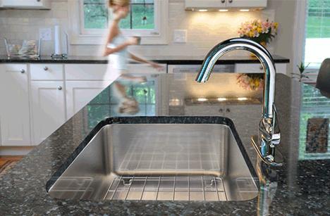 prep sinks stainless steel island