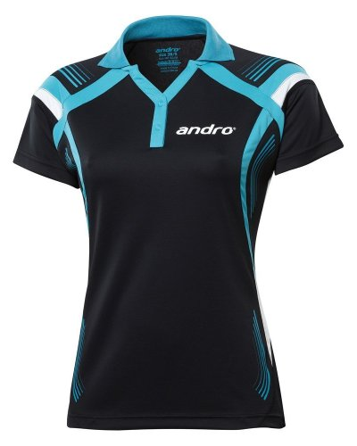 andro Polo Magua Women Black/Turquoise 100% Polyester IndoorDRY