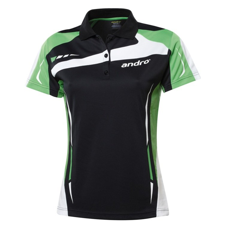 andro Polo Agus Women Blk/Green 100% Polyester IndoorDRY