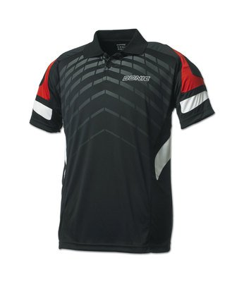 Donic Polo Shirt Force Blk /Red 100% Polyester Drilite