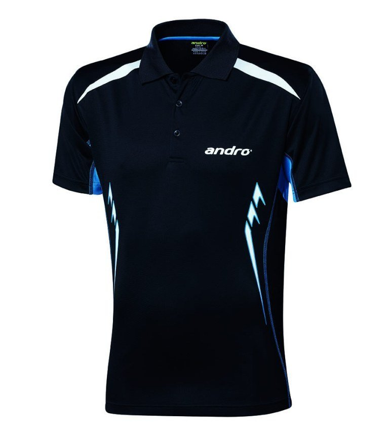 andro Polo Navas Black/Lt Blue 100% Polyester IndoorDRY