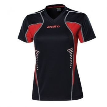 andro Polo Lasca Women Blk/Red 100% Polyester IndoorDRY