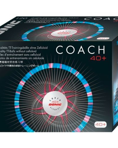 """Donic 40+ Coach Table Tennis Balls - Box of 120 """"POLY"""""""