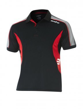 andro Polo Skip Blk/Red 100% Polyester IndoorDRY