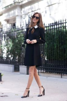 30 Cute Black Dress Outfits   How To Wear A Black Dress   Just The     Arielle Nachami is wearing a short black swing dress with a crisp white  collar which she