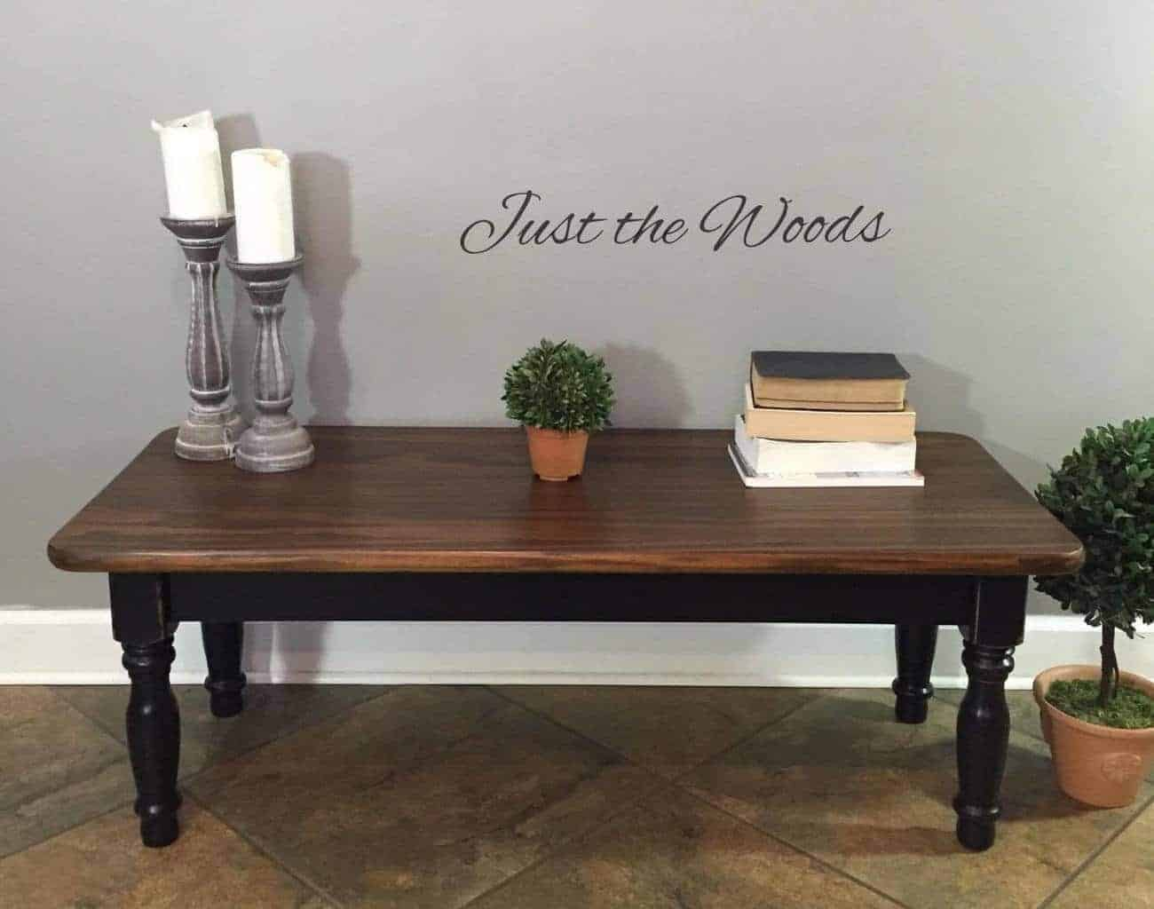 black stain wood grain coffee table