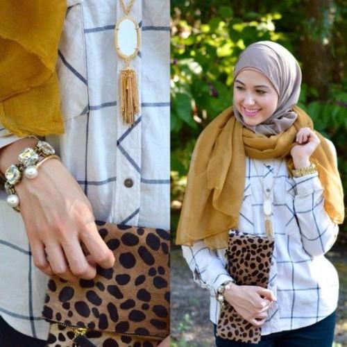 checked shirt hijab look