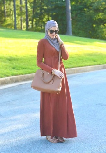 orange maxi dress hijab dress