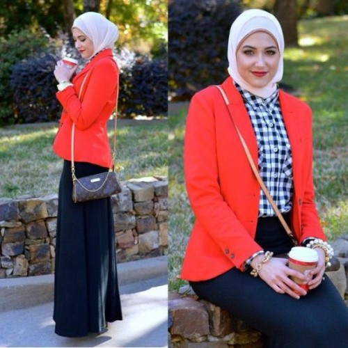 red blazer with checked shirt