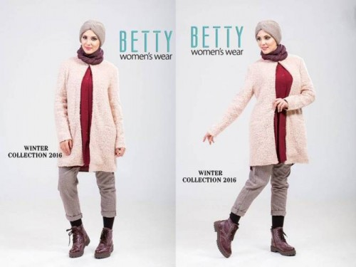 pink knit coat hijab outfit