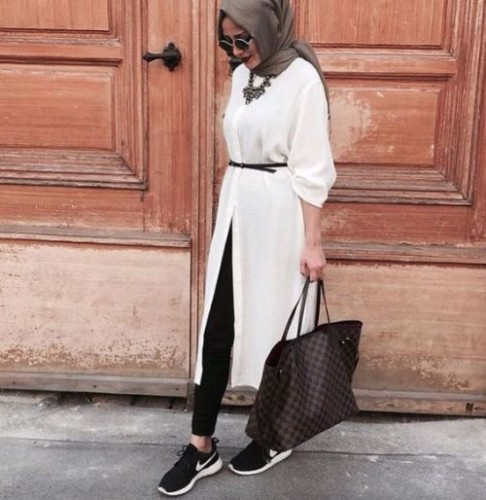 white tunic dress hijab look
