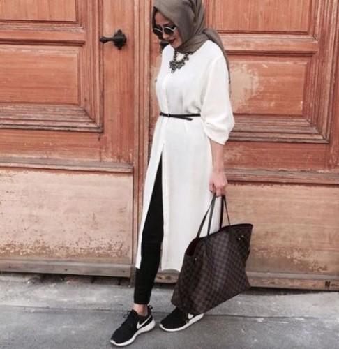 white tunic dress hijab look