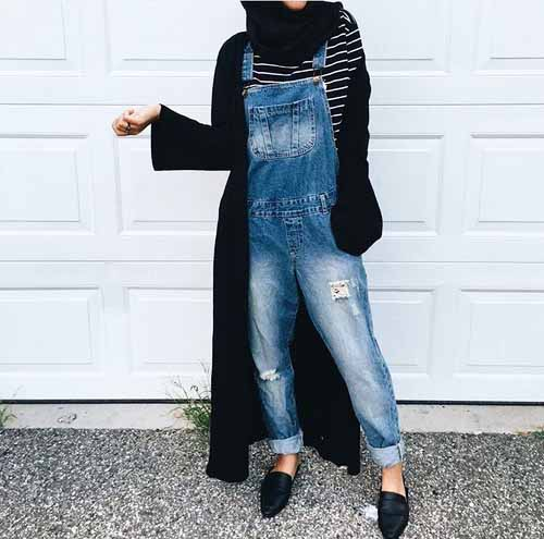 Image result for overalls and striped shirt hijab