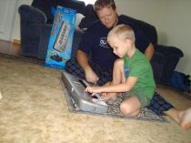 Dad showing gavin the ropes