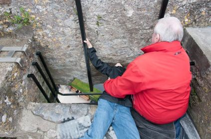 Gavin kissing the Blarney Stone