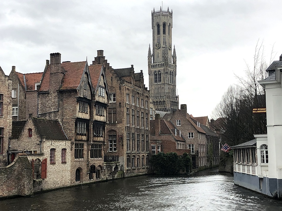 The Belfry of Bruges, View across the river.